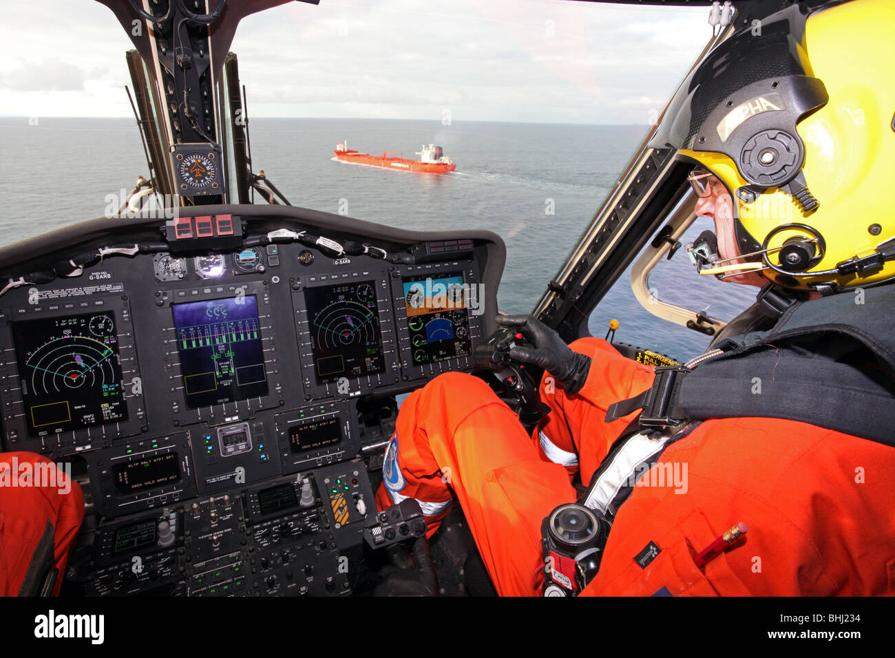 Sikorsky S 92 helicopter used by the Uk Coastguard for Search and Rescue, based at Sumburgh in Shetland, off the - Stock Image