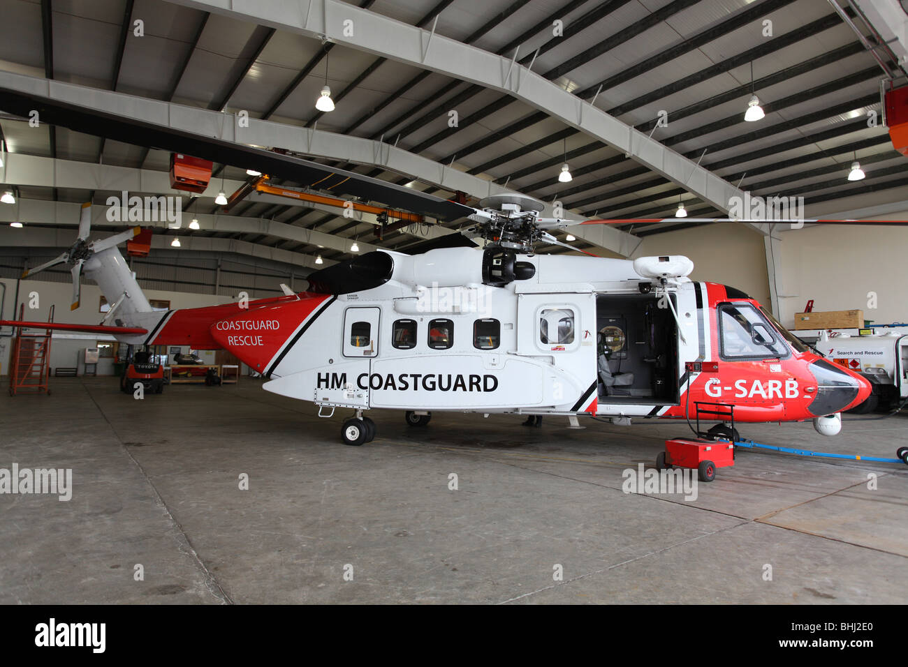 Sikorsky S 92 helicopter used by the Uk Coastguard for Search and Rescue, based at Sumburgh in Shetland, off the Stock Photo