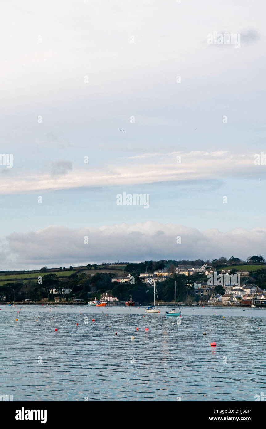 View from ferry across St Mawes to Falmouth,Cornwall England UK - Stock Image