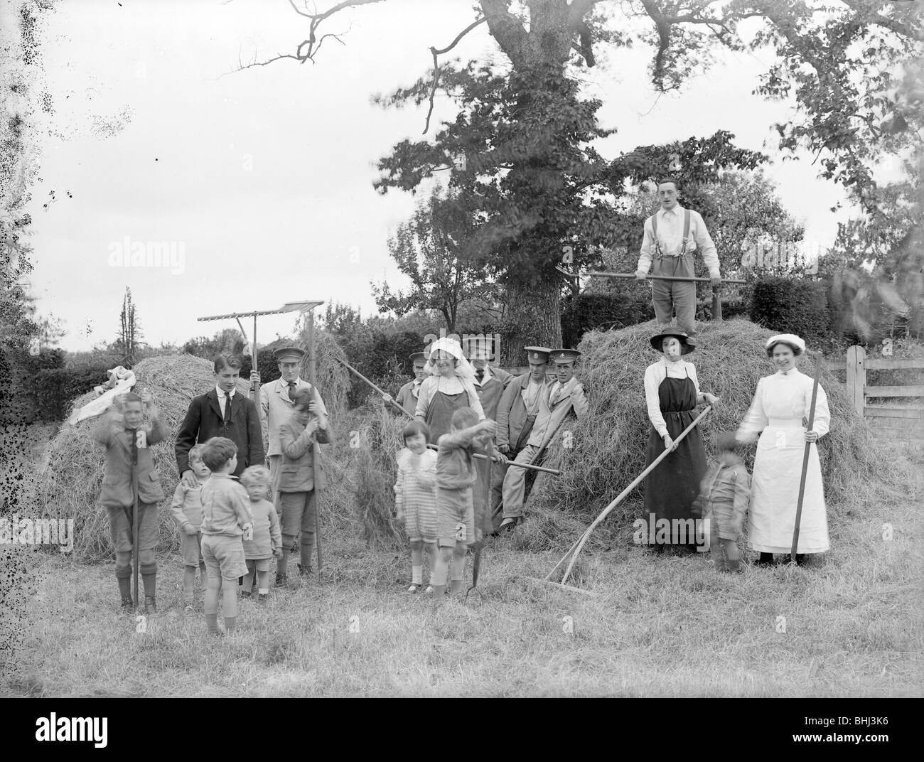 Convalescent soldiers helping women and children with haymaking, Great Dixter, East Sussex, 1916. Artist: Nathaniel - Stock Image