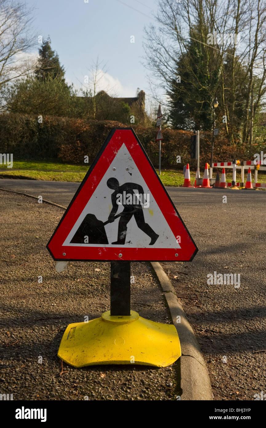 Road works ahead traffic road sign in Seer Green Buckinghamshire UK - Stock Image
