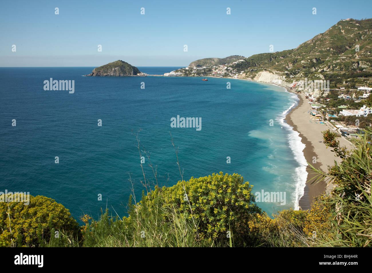 Ischia island, Italy: view of Lido dei Maronti beach - Stock Image