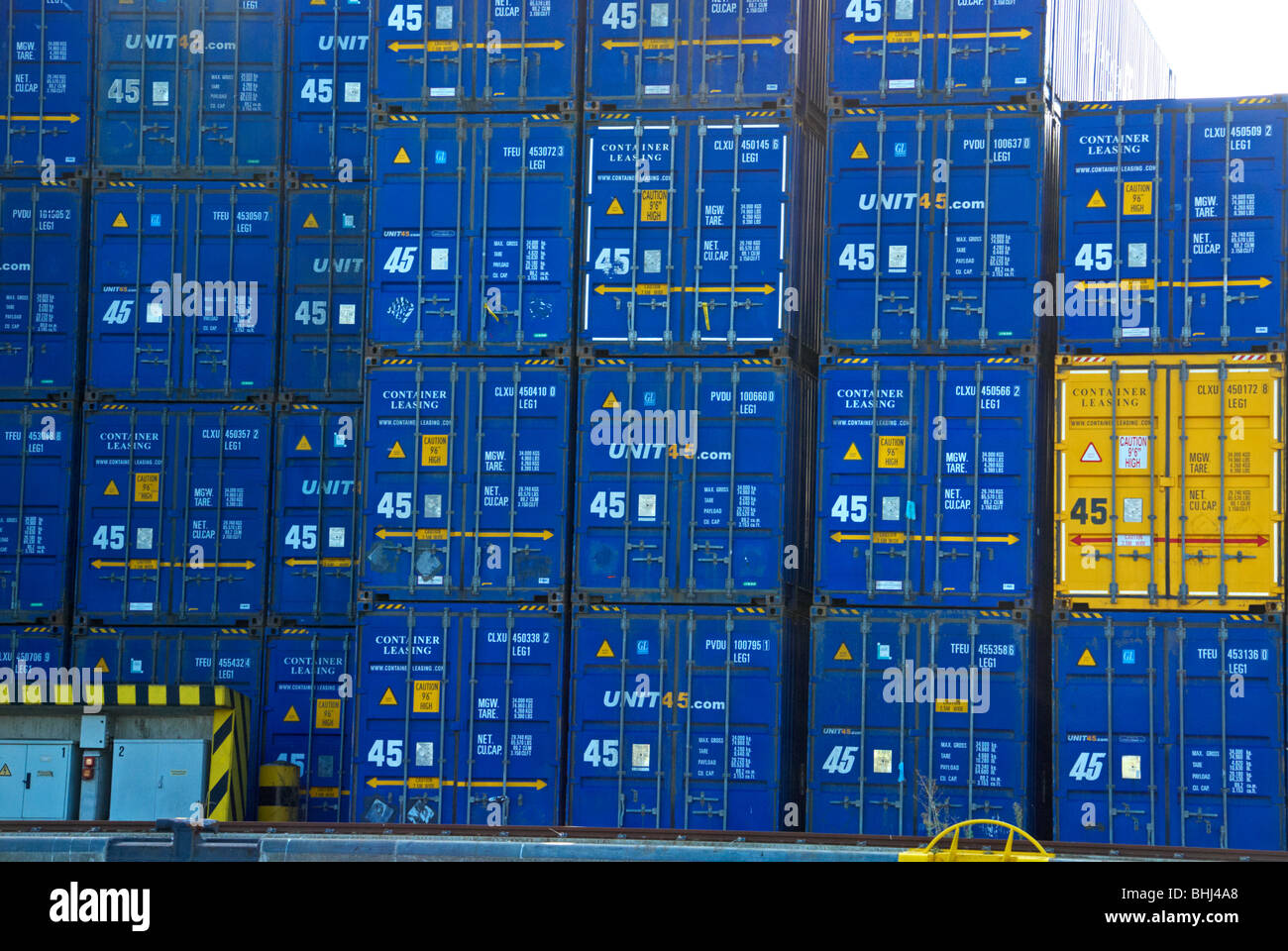 Containers for hire at the habour front in Lübeck, Germany. Stock Photo