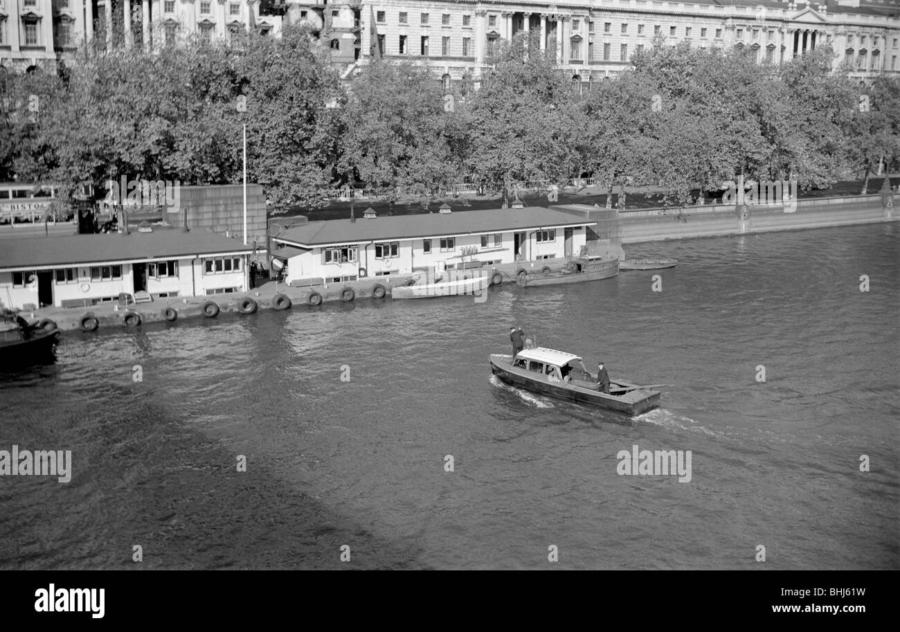 A police launch, Thames River Police station, Victoria Embankment, London, c1945-c1965. Artist: SW Rawlings - Stock Image