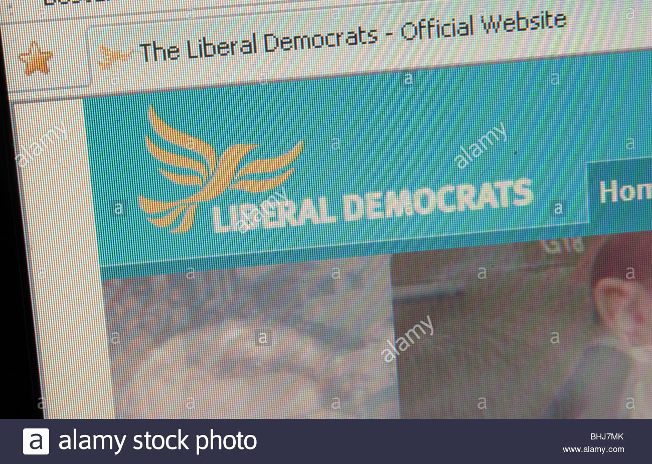 Website of the UK Liberal Democrats. - Stock Image