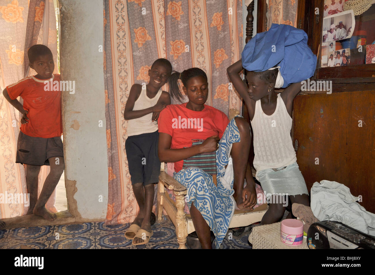 Many live in extended families, The Gambia - Stock Image