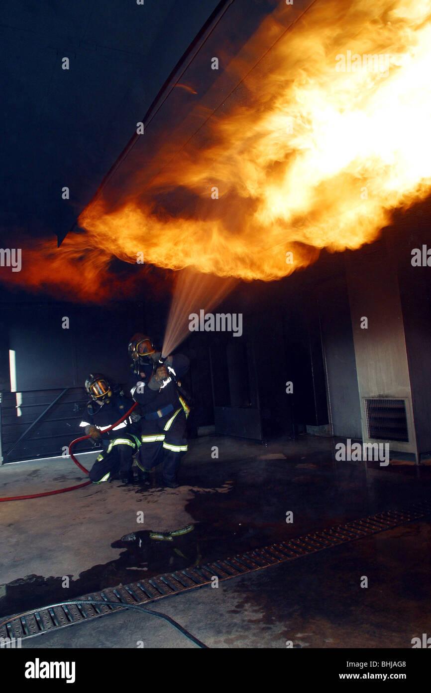 HOUSE ON FIRE, FLASH-OVER, COLMAR, HAUT-RHIN (68), FRANCE - Stock Image