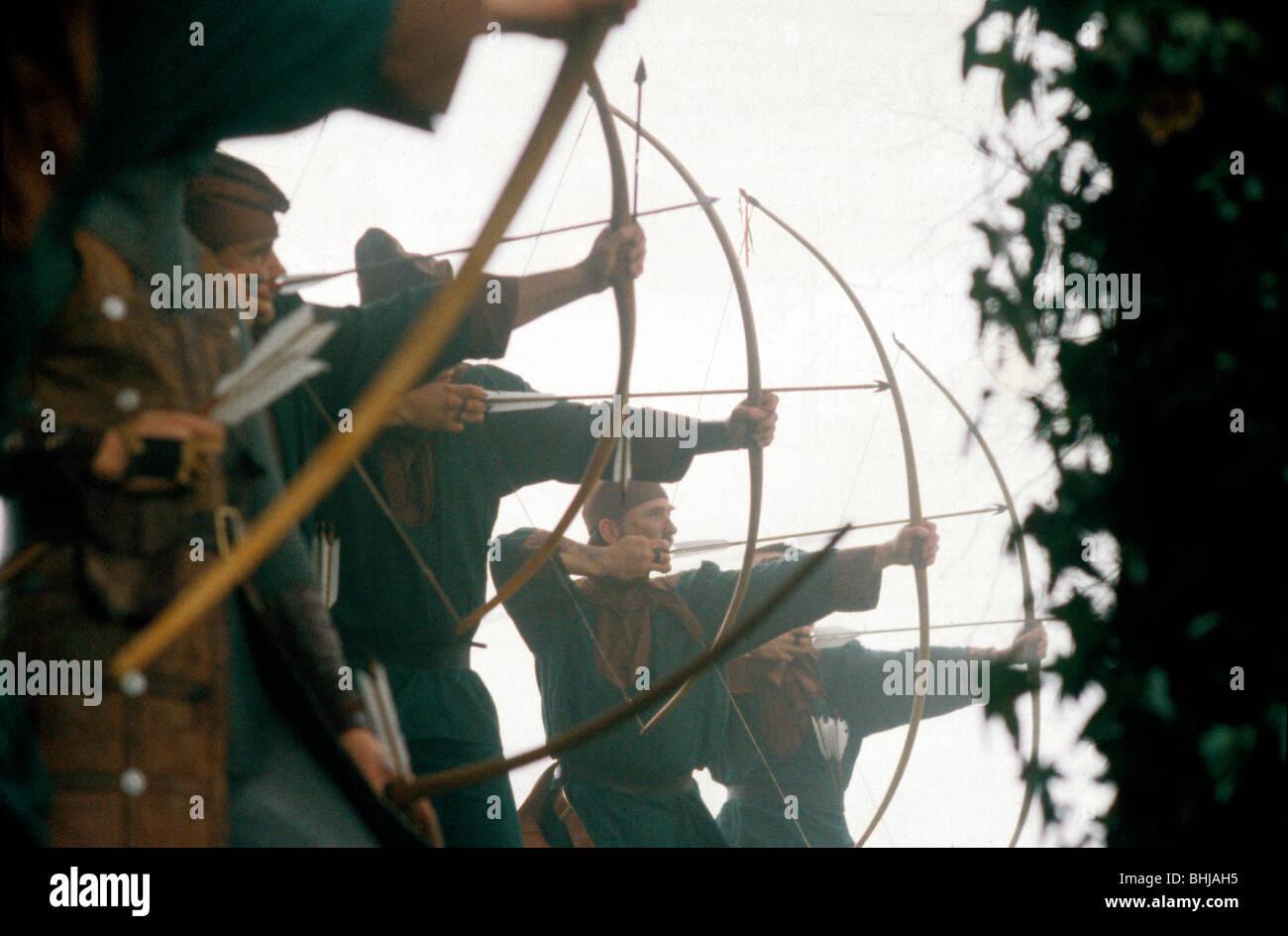 Archers in a battle re-enactment. Artist: Geoffrey Davis - Stock Image