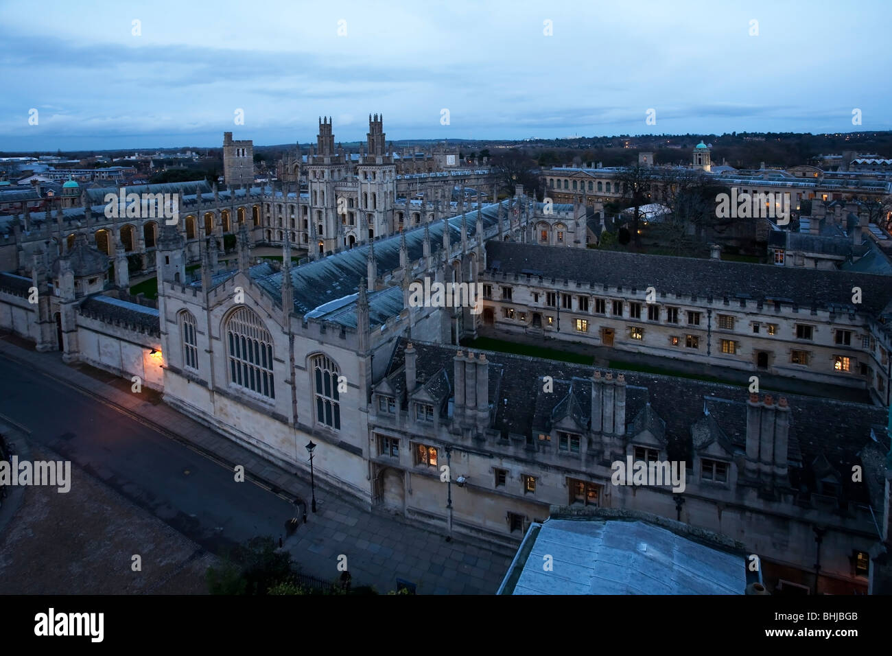 View of All Souls College and Radcliffe Square from St Mary's Church Steeple, Oxford, Uk Stock Photo