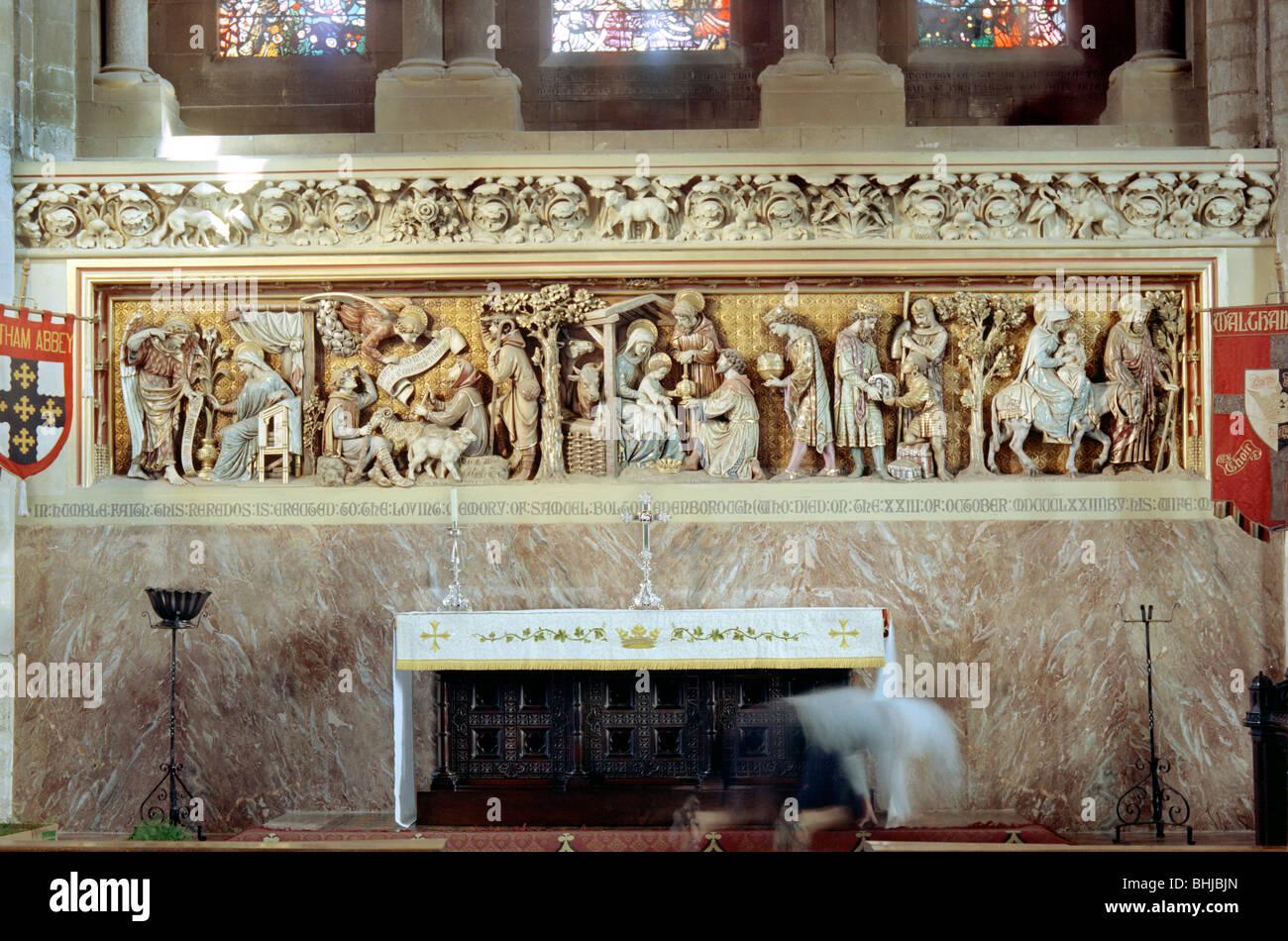 Reredos at Waltham Abbey, Essex, 1964. Artist: Laurence Goldman - Stock Image