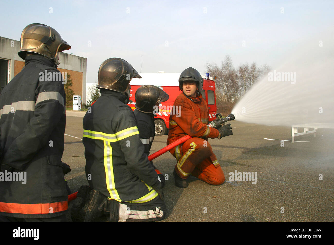 BASIC TRAINING FOR PROFESSIONAL FIREFIGHTERS, FIRE SIMULATOR, FLASH OVER IN A CONTAINER, YVELINES (78), FRANCE - Stock Image