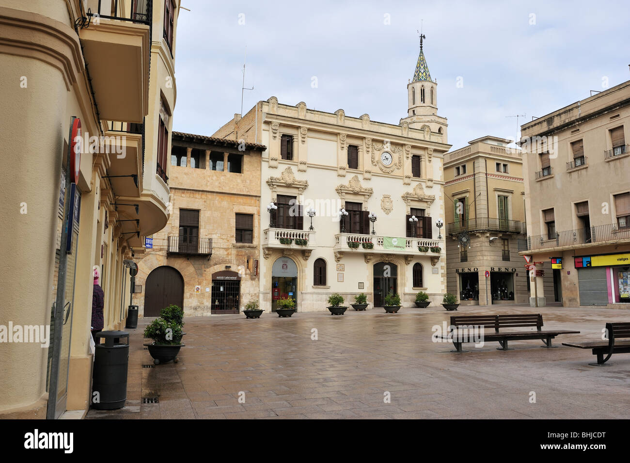 Square and the town council, Vilafranca del Penedes. - Stock Image
