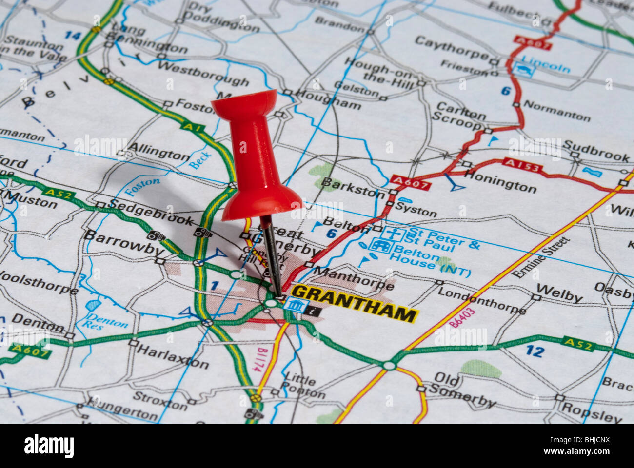 Map Of Grantham red map pin in road map pointing to city of Grantham Stock Photo  Map Of Grantham