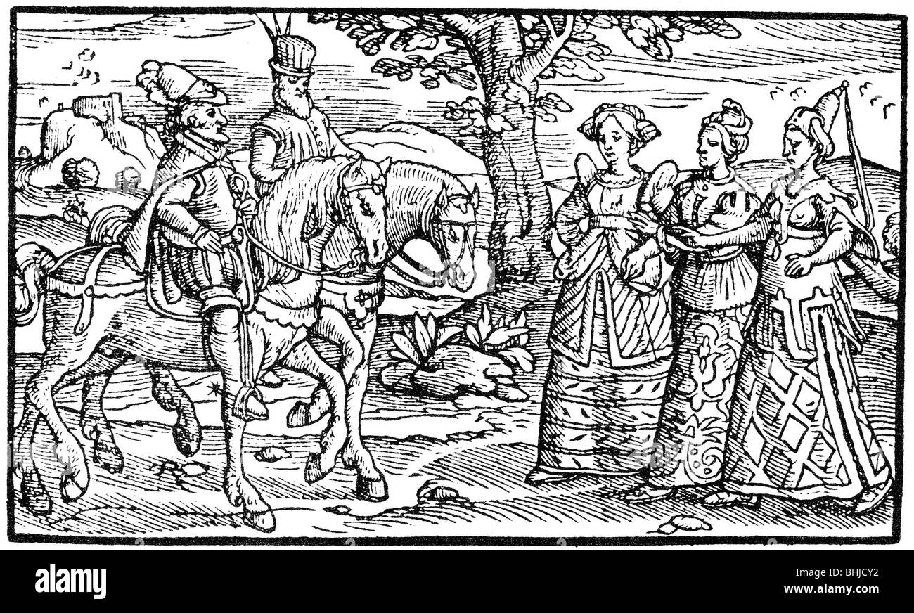MACBETH and Banquo meet the three Witches in the first (1577) edition of  Holinshed's Chronicles
