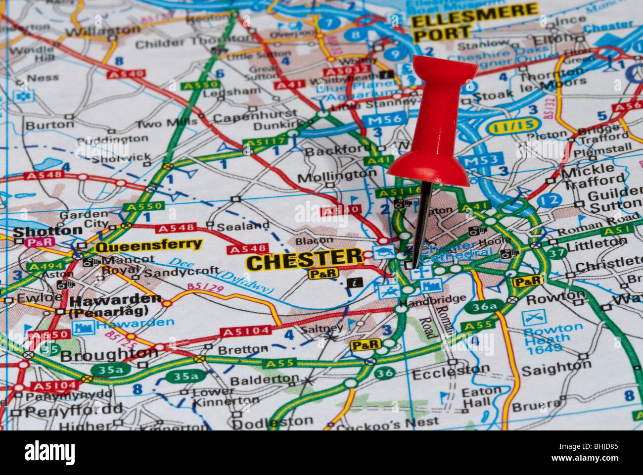 Red Map Pin In Road Map Pointing To City Of Chester Stock Photo