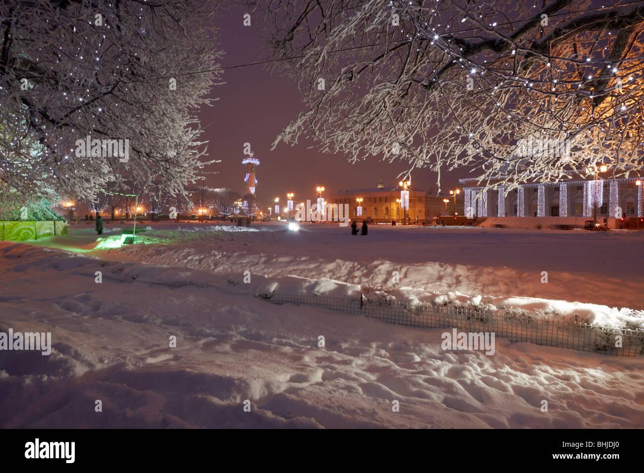 New Year illumination at the Spit of Vasilyevsky Island. - Stock Image