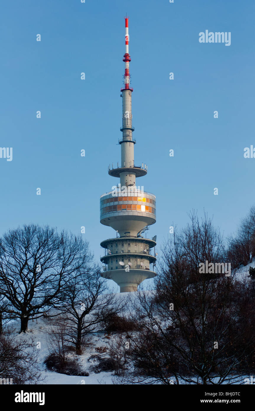Munich Olympic tower in the snow - Stock Image