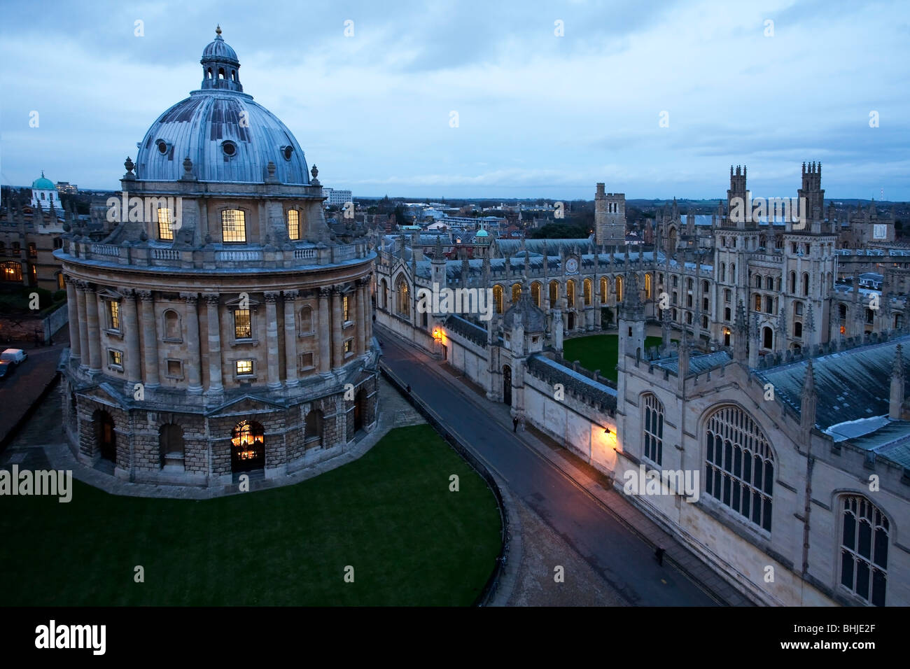 View of All Souls College and Radcliffe Square from St Mary's Church Steeple, Oxford, Uk - Stock Image