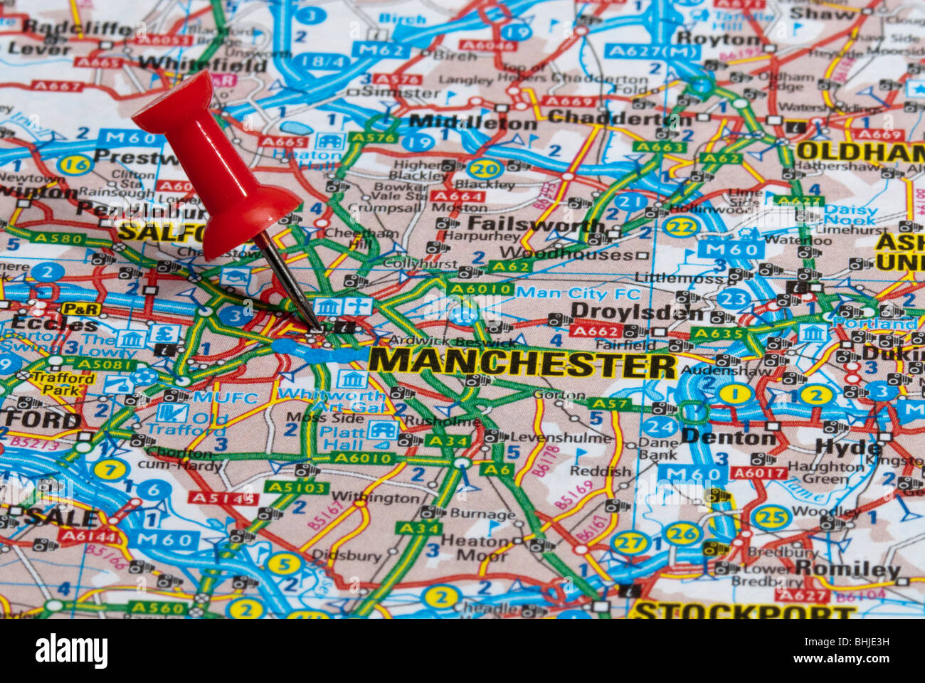 Manchester World Map.Red Map Pin In Road Map Pointing To City Of Manchester Stock Photo