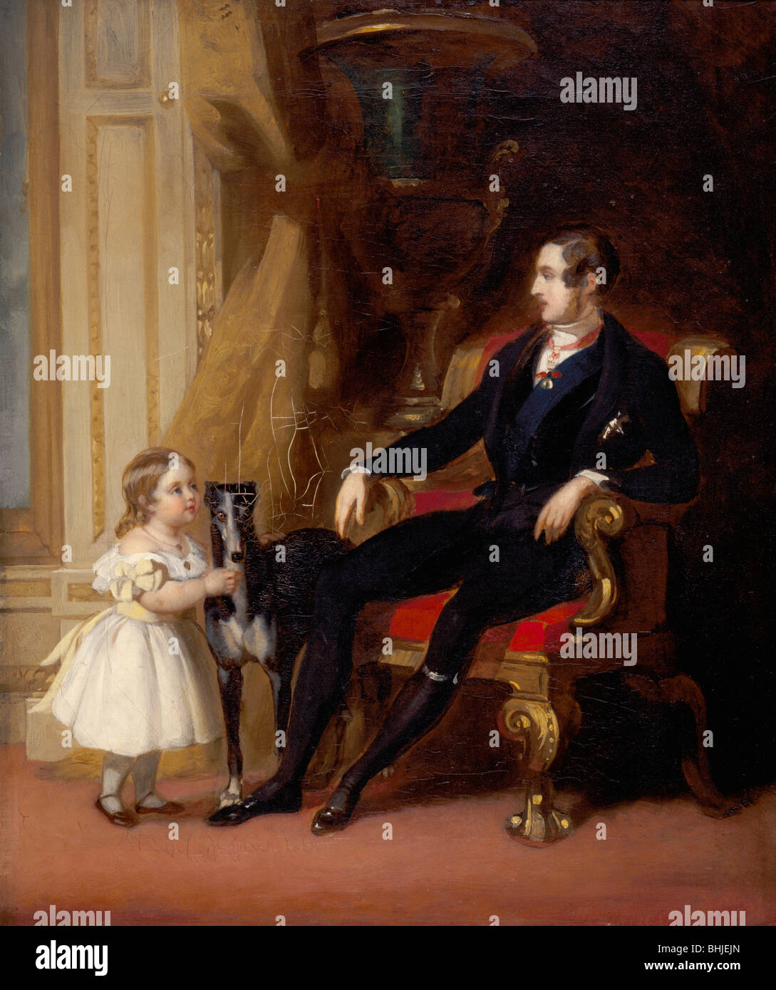 Albert Prince Consort with Princess Victoria and Eos, c1843. Artist: G Lucas - Stock Image