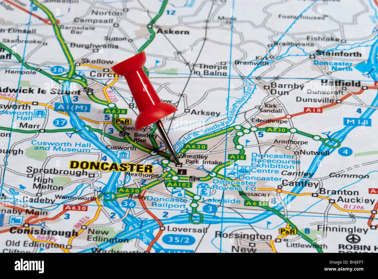 red map pin in road map pointing to city of Doncaster Stock Photo ...