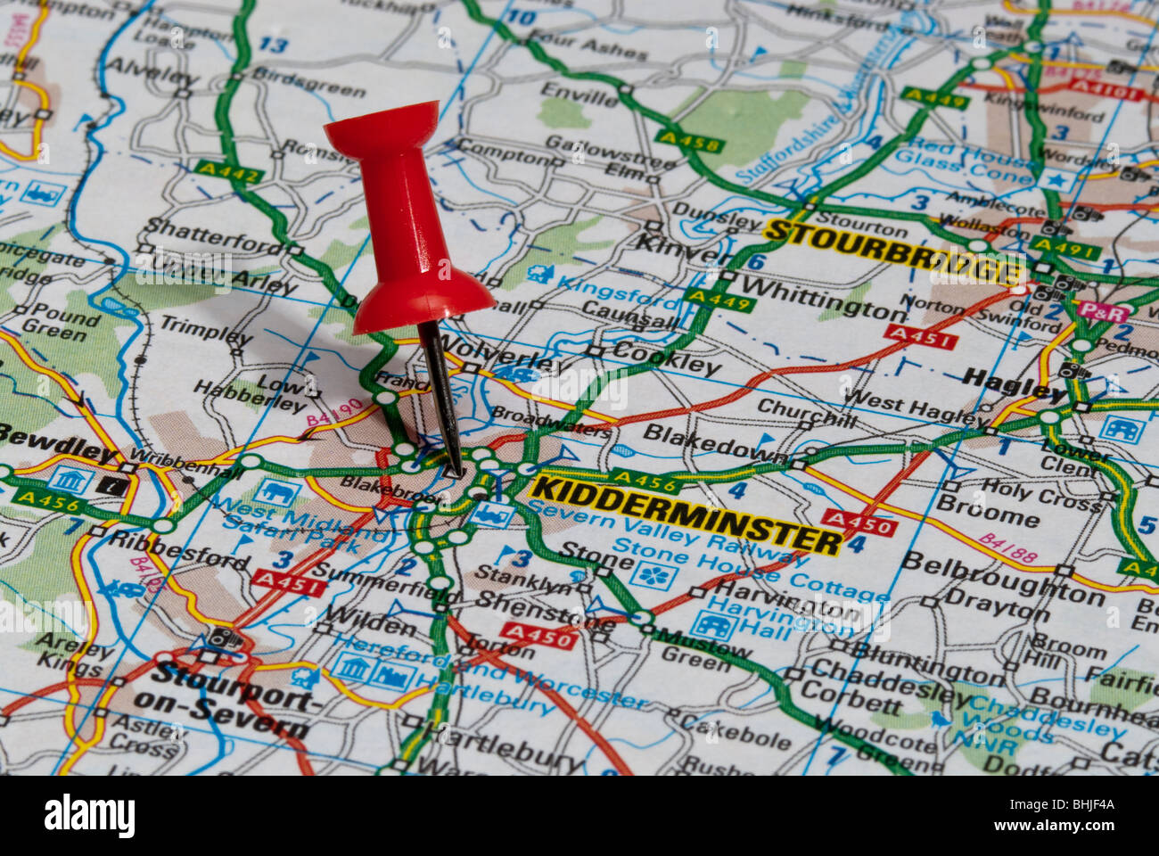 Map Of Kidderminster red map pin in road map pointing to city of Kidderminster Stock