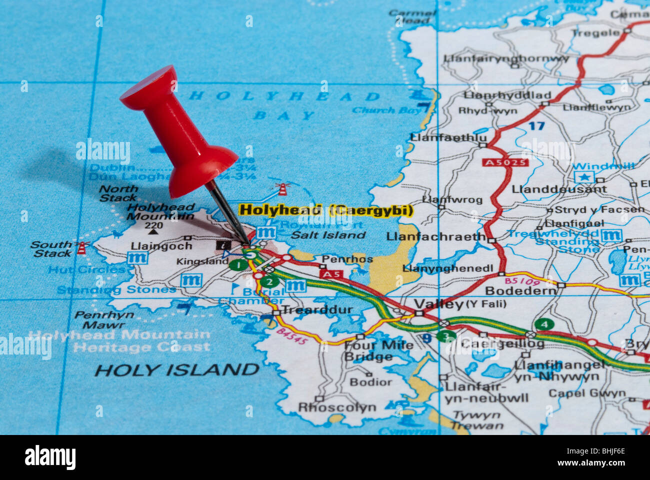 Map Of England Holyhead.Red Map Pin In Road Map Pointing To City Of Holyhead Stock