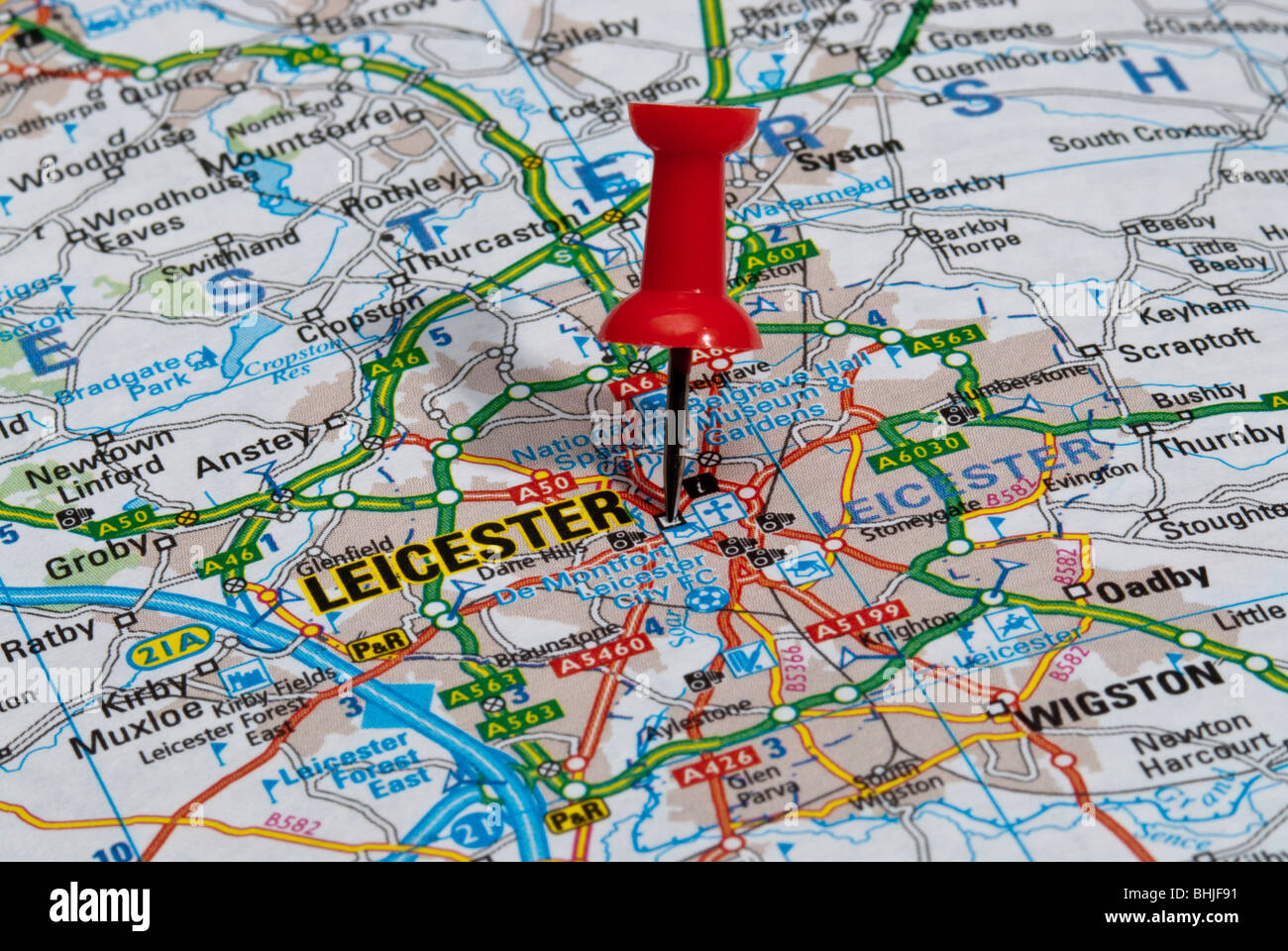 Boston Road Map red map pin in road map pointing to city of Boston Stock Photo