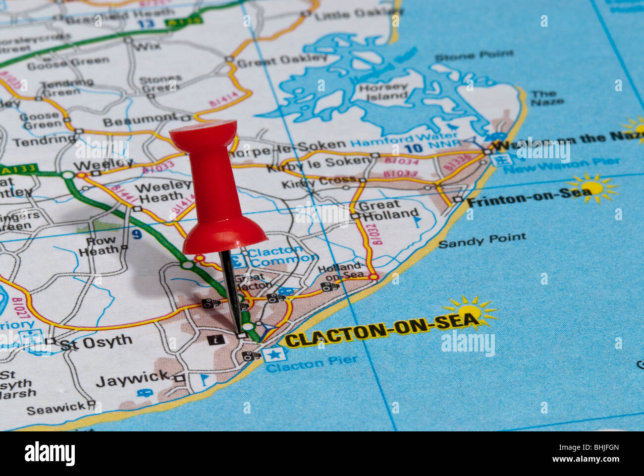 Clacton On Sea Map red map pin in road map pointing to city of Clacton on sea Stock