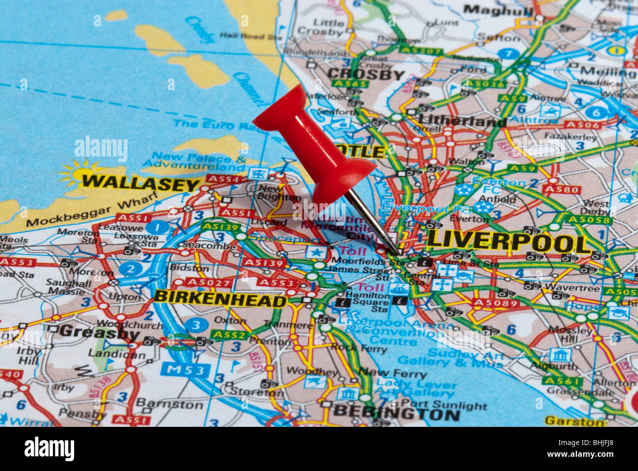 Road Map Liverpool England Stock Photos & Road Map Liverpool England ...