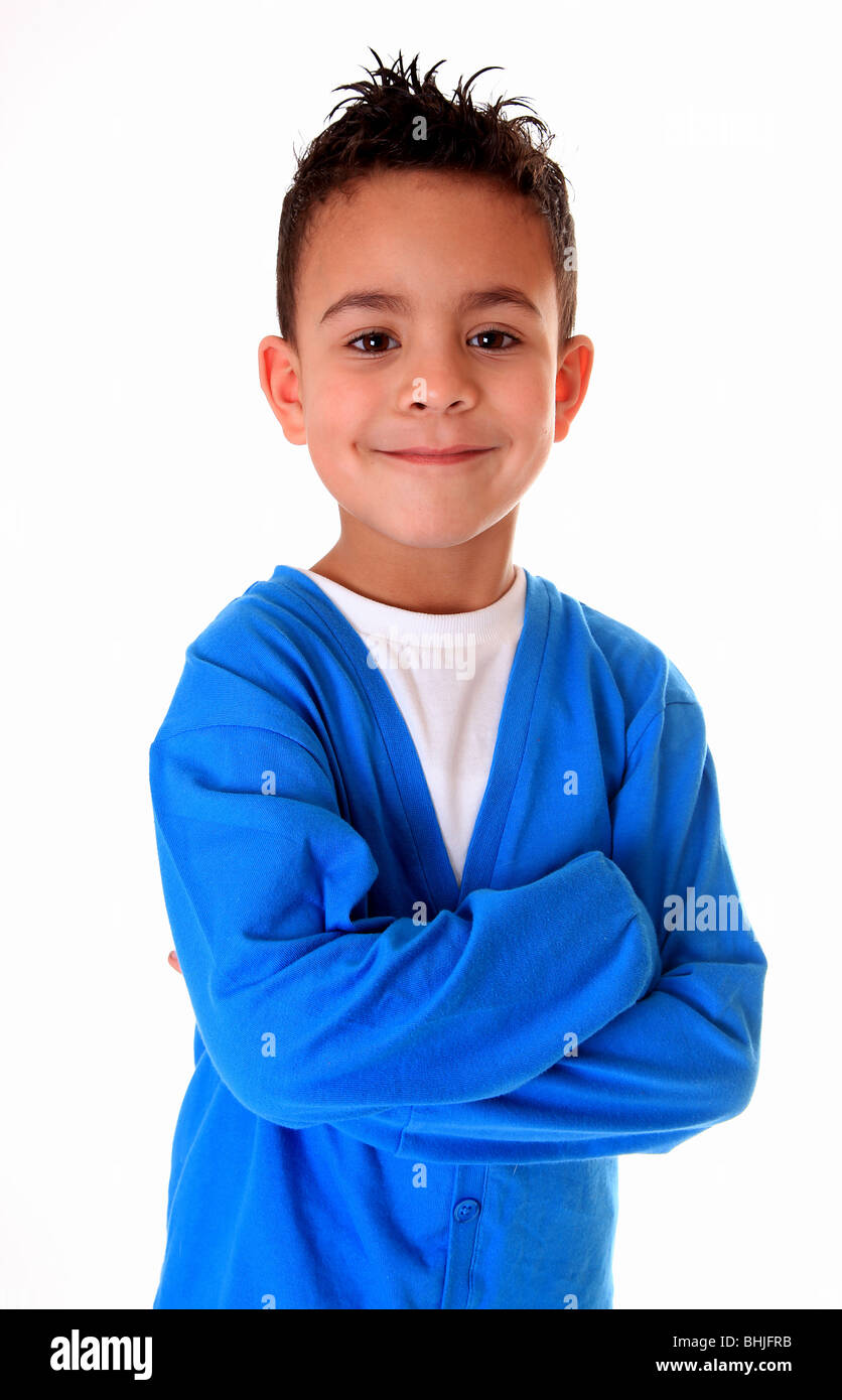 cute portrait of 6 year old boy - Stock Image