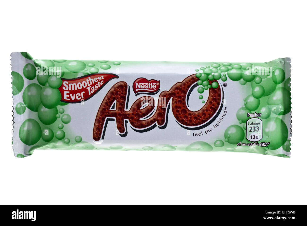 Bar of Nestle Aero  mint milk chocolate - Stock Image