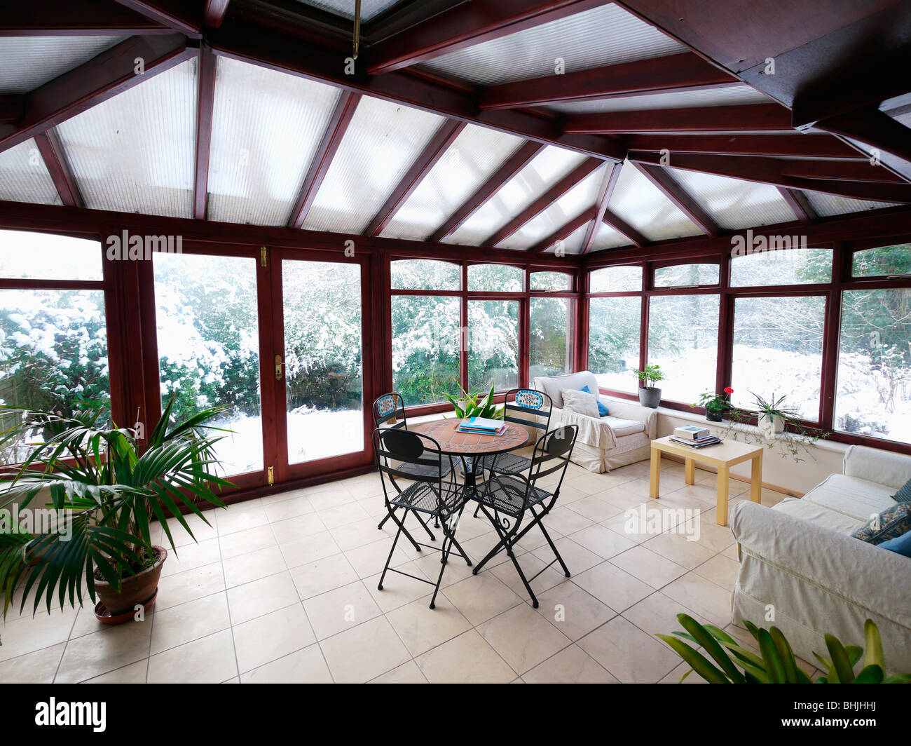 conservatory interior snow conservatories indoors - Stock Image