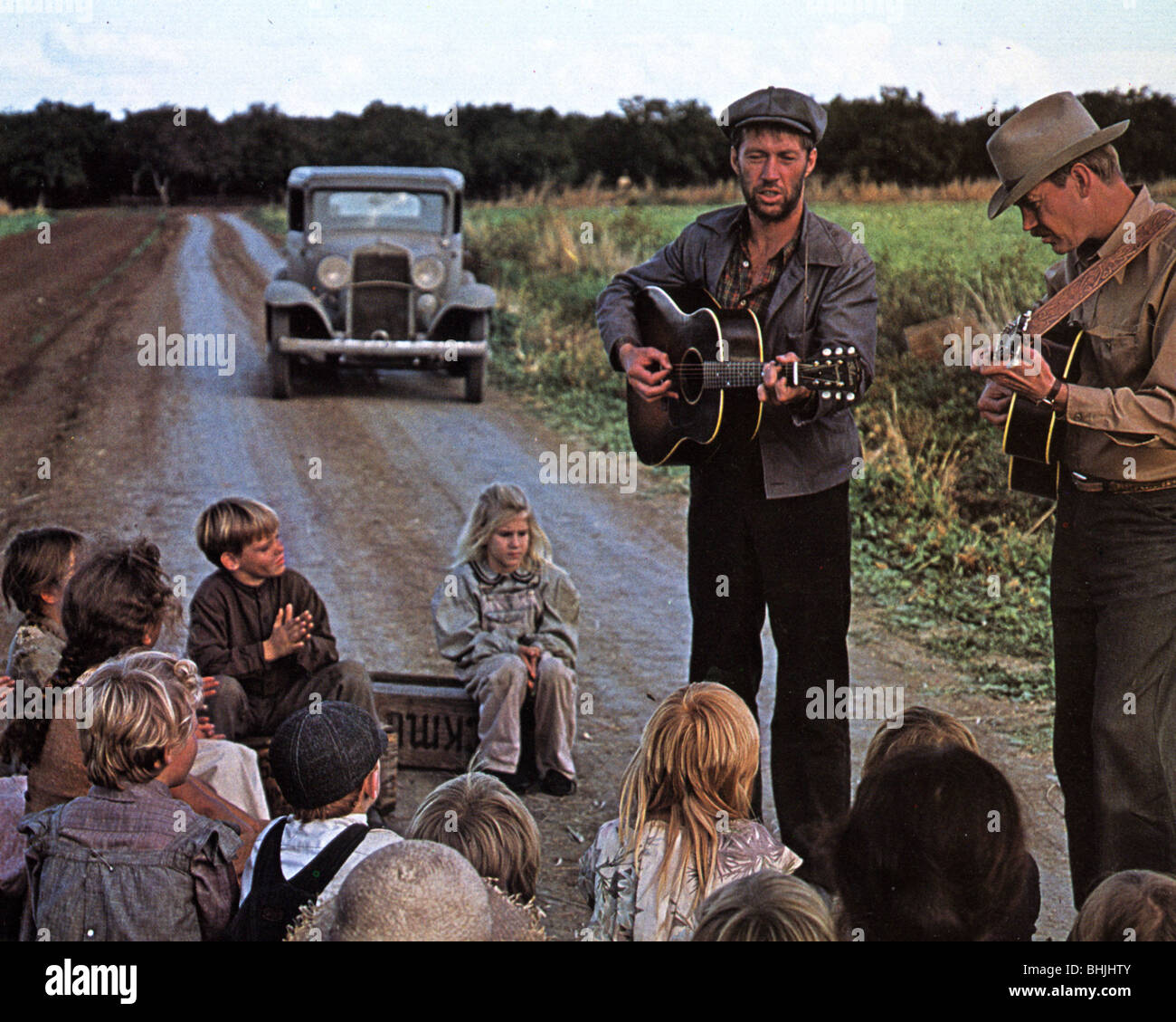 BOUND FOR GLORY  1976 UA film with David Carradine (centre) as Woody Guthrie and Ronny Cox at right - Stock Image