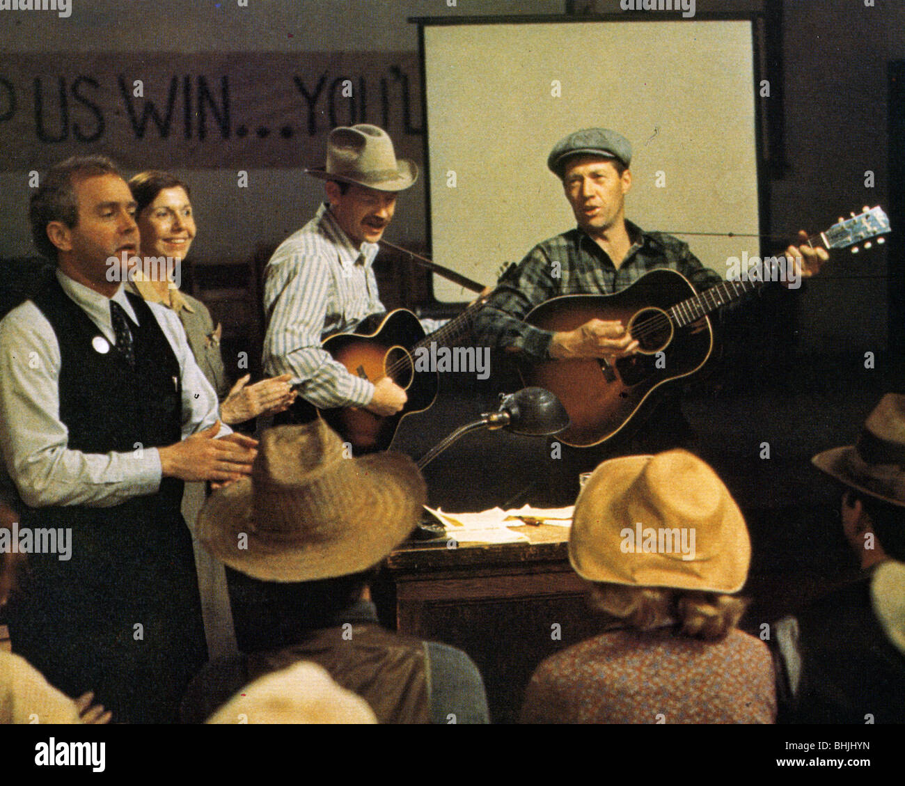 BOUND FOR GLORY  1976 UA film with David Carradine (at right) as Woody Guthrie and Ronny Cox - Stock Image