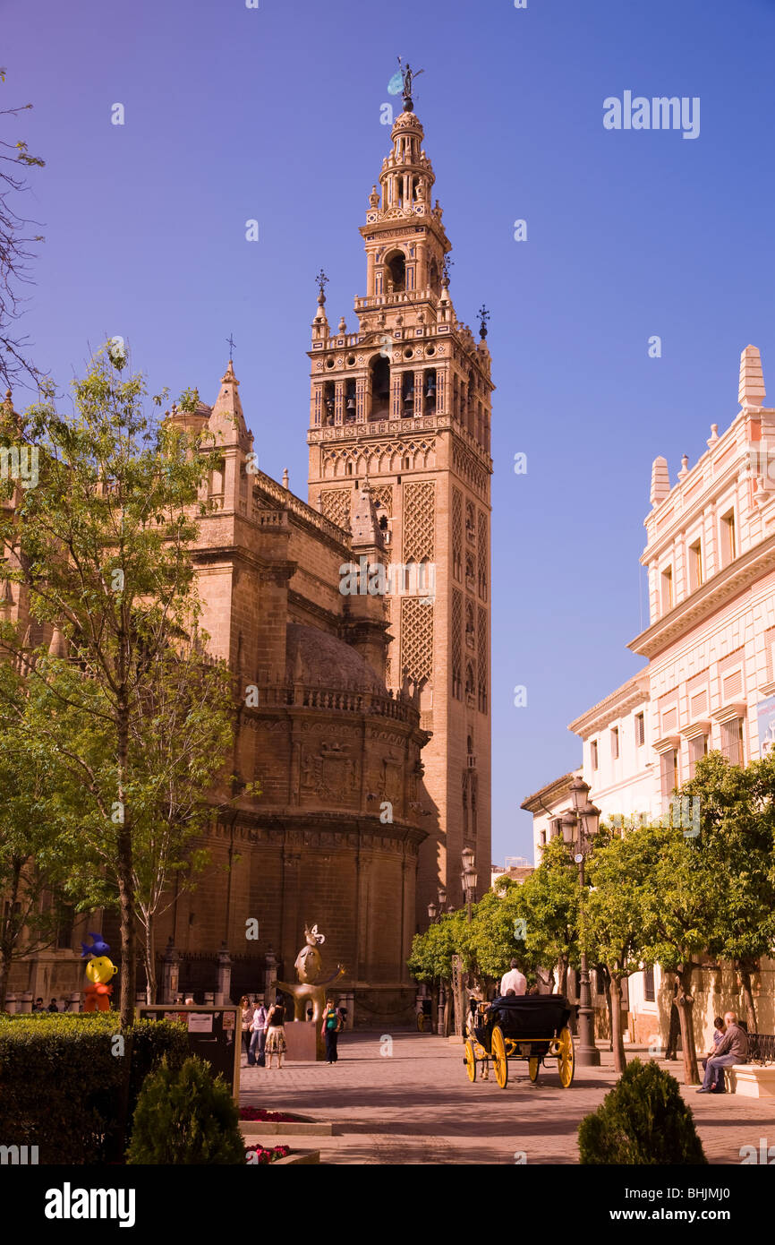 Giralda Tower and Cathedral, Seville, Andalucia, Spain - Stock Image