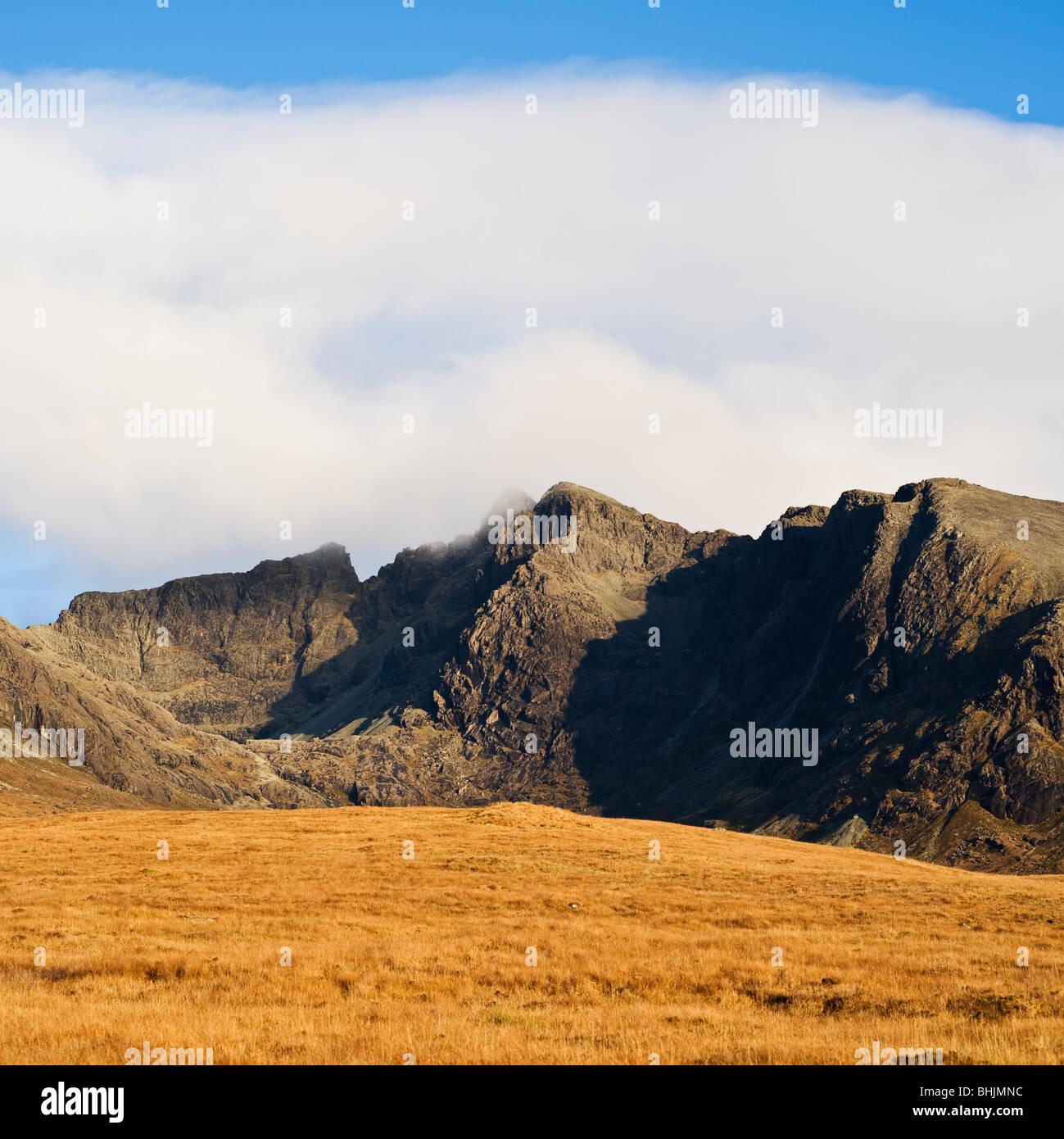 Black Cuillin hills as seen from Glenbrittle, Isle of Skye, Scotland - Stock Image
