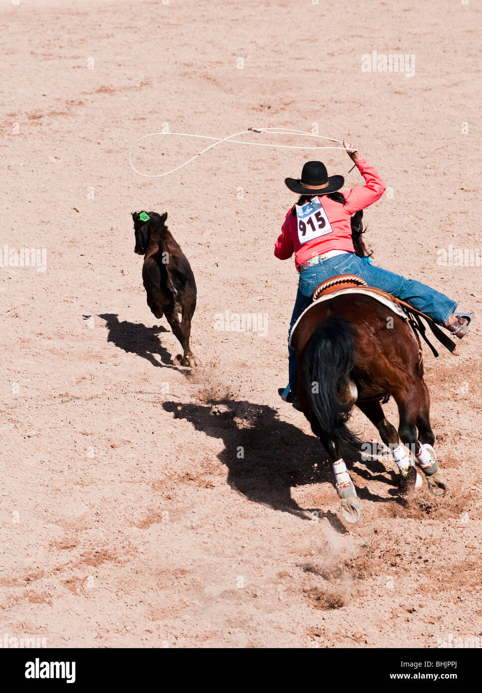 A cowgirl competes in the breakaway roping event during the O'Odham Tash all-indian rodeo - Stock Image