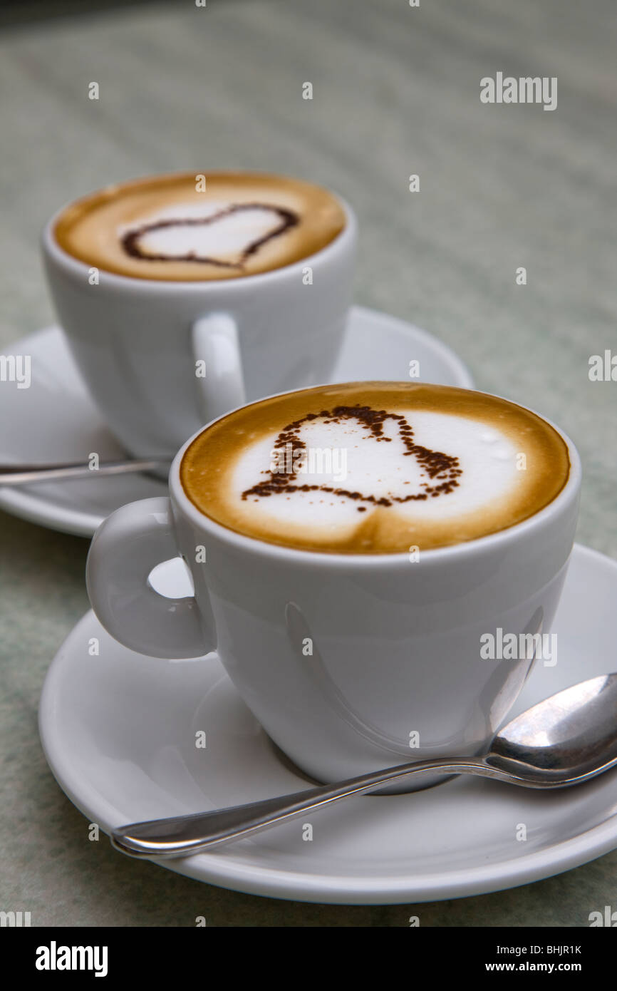 Italy Capuccino with love symbol in froth. - Stock Image