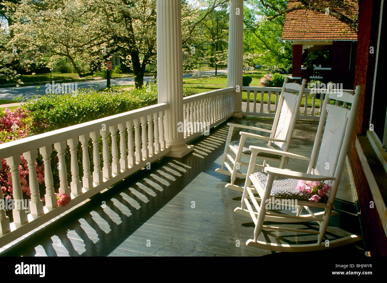 Southern Front Porch With Twin Rocking Chairs Looking Out On Spring