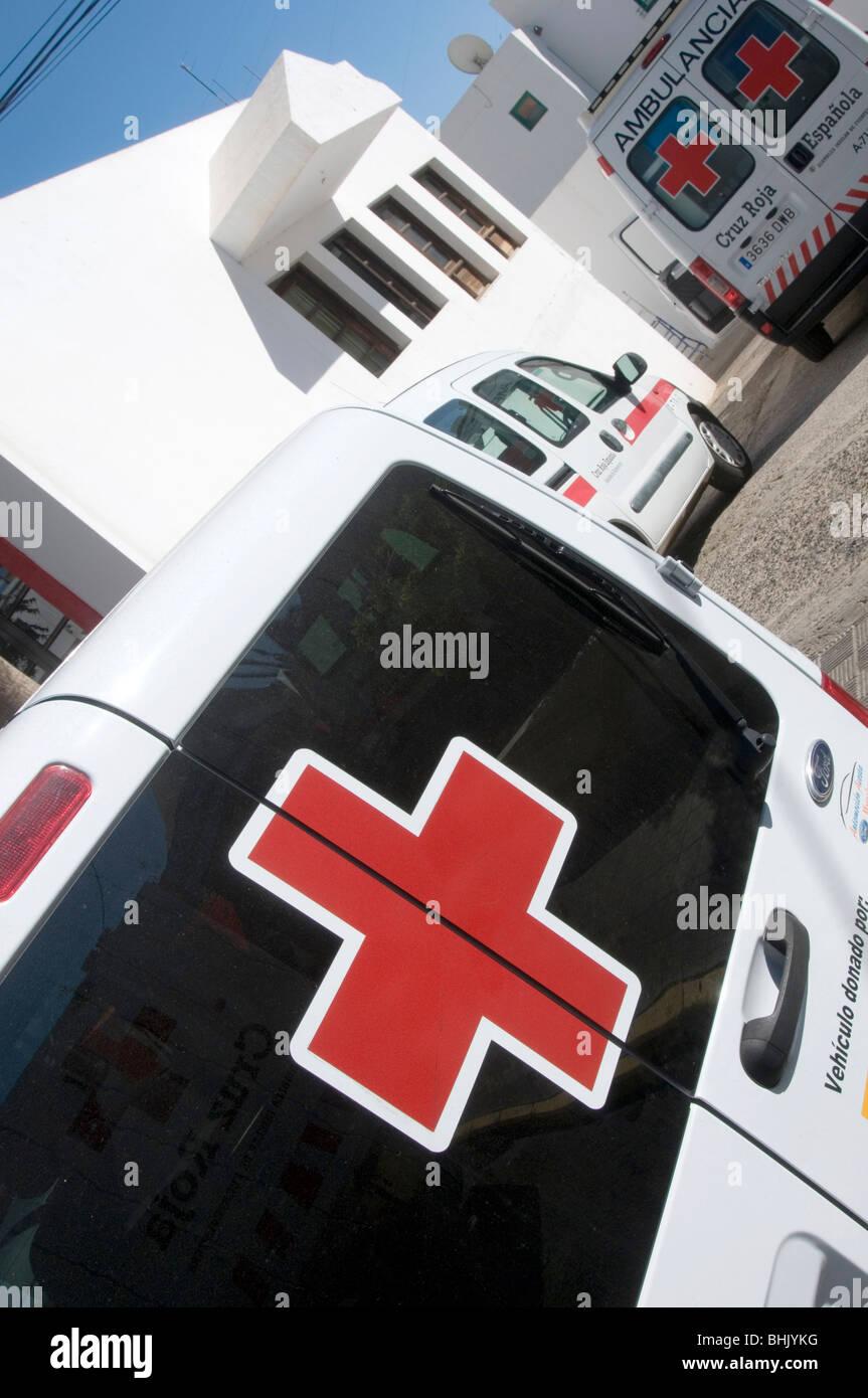 travel insurance medical holiday ambulance ambulances emergency emergencies  medic first aid red cross medicine - Stock Image