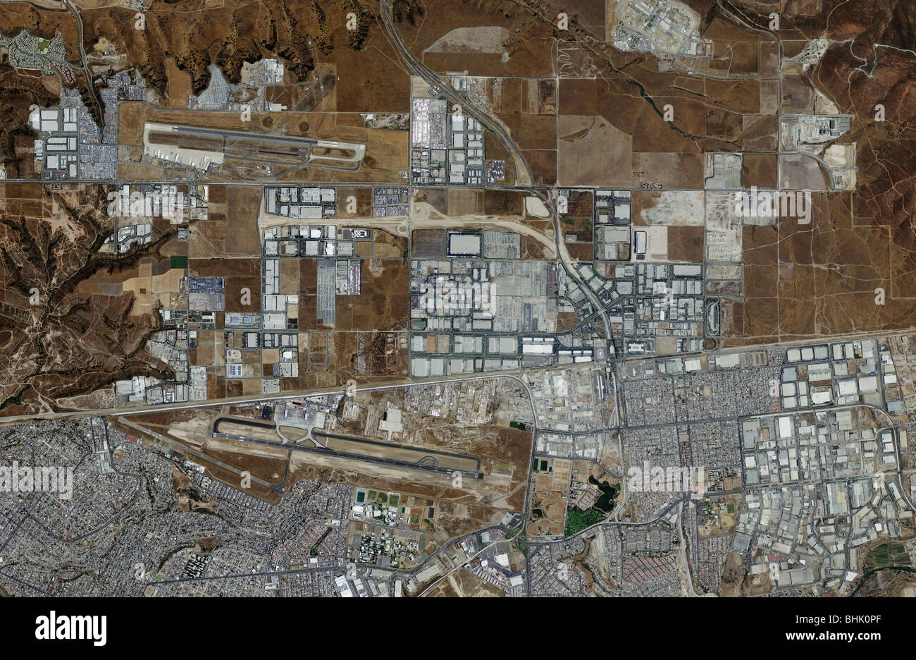 aerial map view above Brown Field Municipal airport and Tijuana