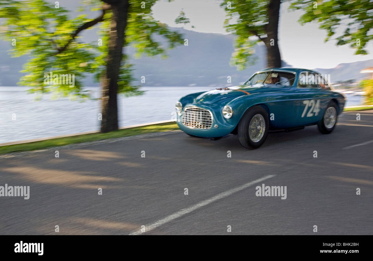 1949 Ferarri 166 MM winner Mille Miglia 1950. Photographed on road near Lake Como Italy 2008 - Stock Image