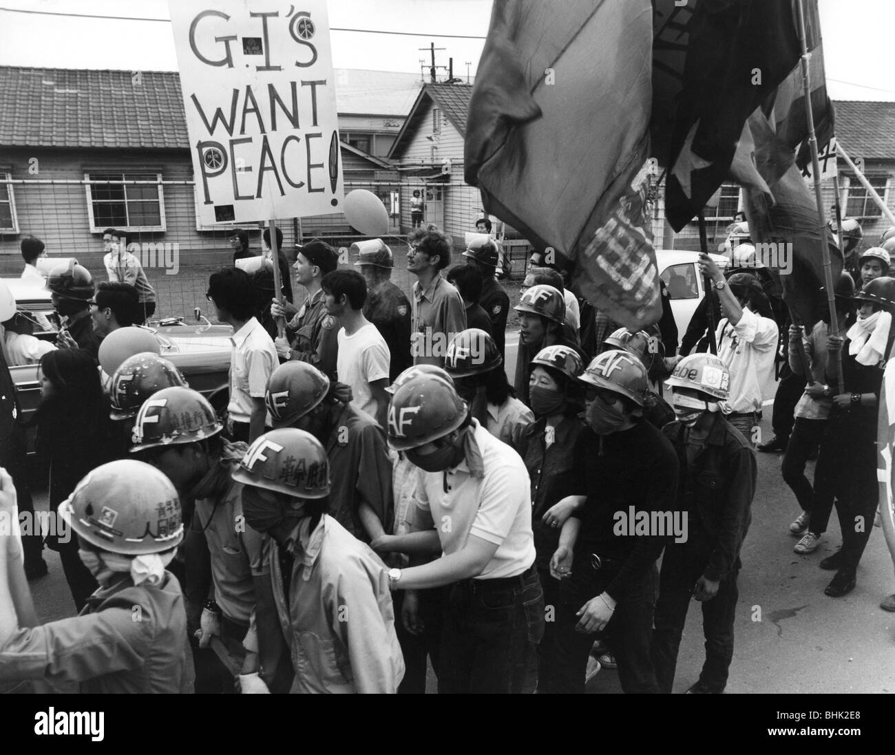 geography / travel, Japan, politics, demonstrations, students demonstrating against the war in Vietnam, Tokyo, 1971, Stock Photo