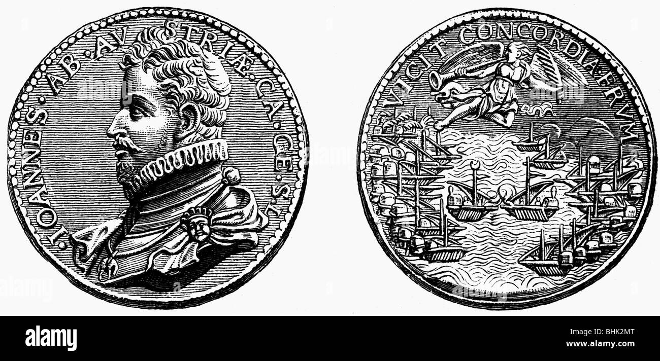 events, Fifth Ottoman-Venetian War 1570 - 1573, Battle of Lepanto, 7.10.1571, commemoration medal, wood engraving, Stock Photo