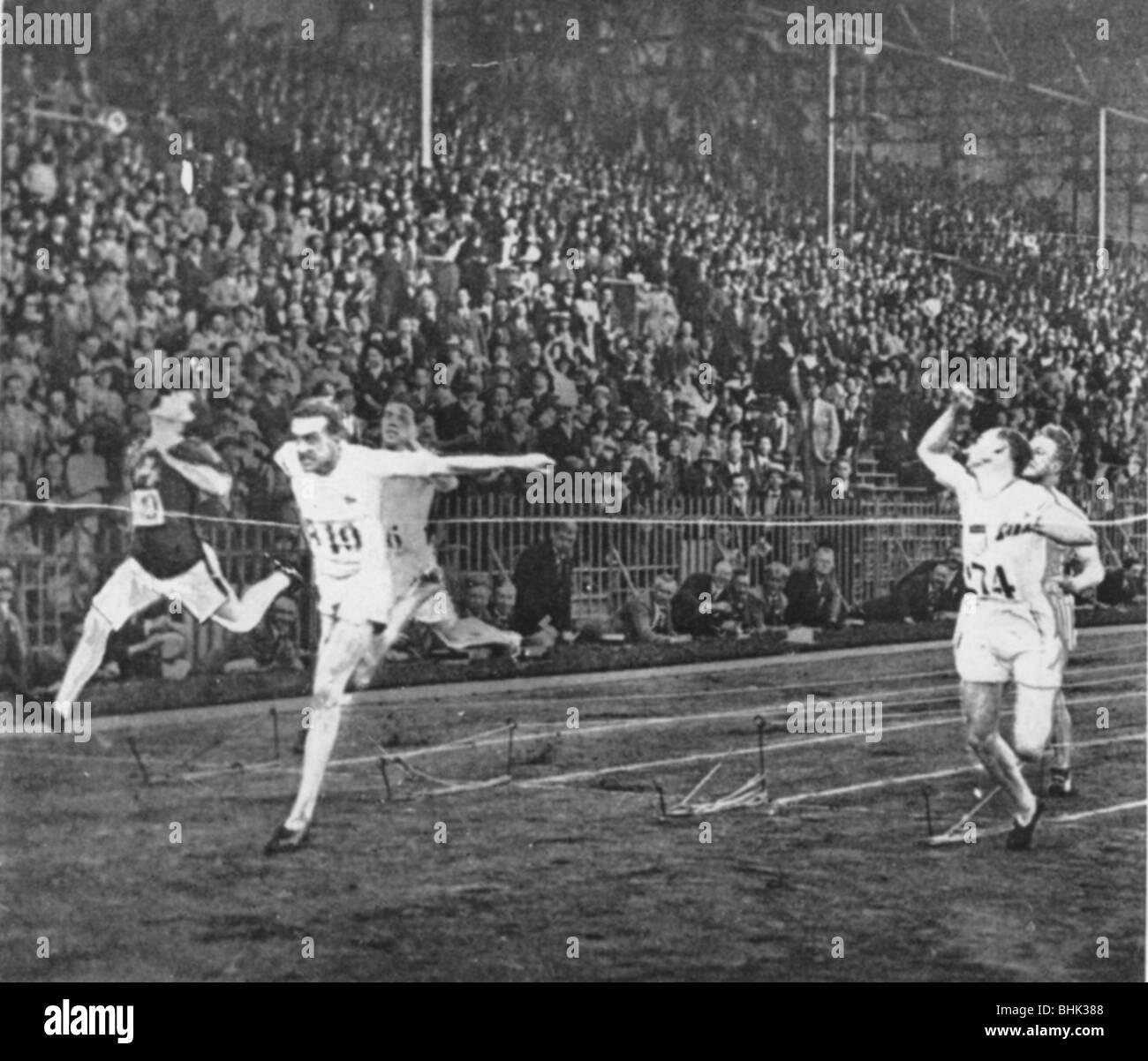 Harold Abrahams winning gold at the Olympic Games, Paris, 1924. - Stock Image