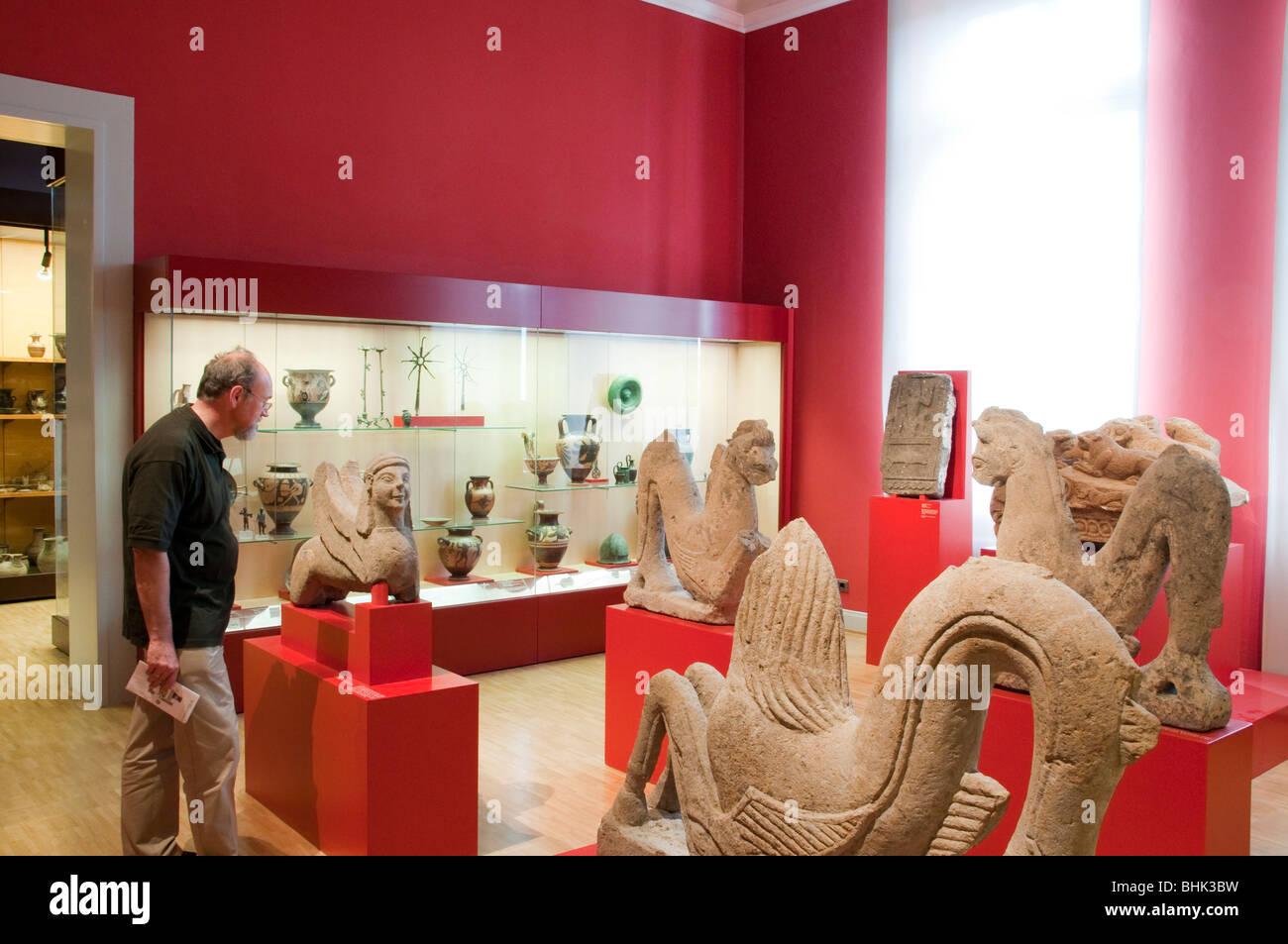 egyptian collection, Museum fuer Kunst und Gewerbe, railway platforms, Hamburg, Germany - Stock Image