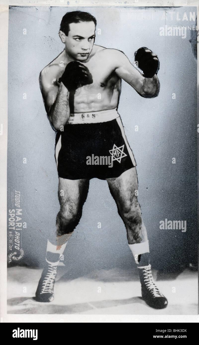 Michael Atlan, Jewish Featherweight Boxer. - Stock Image