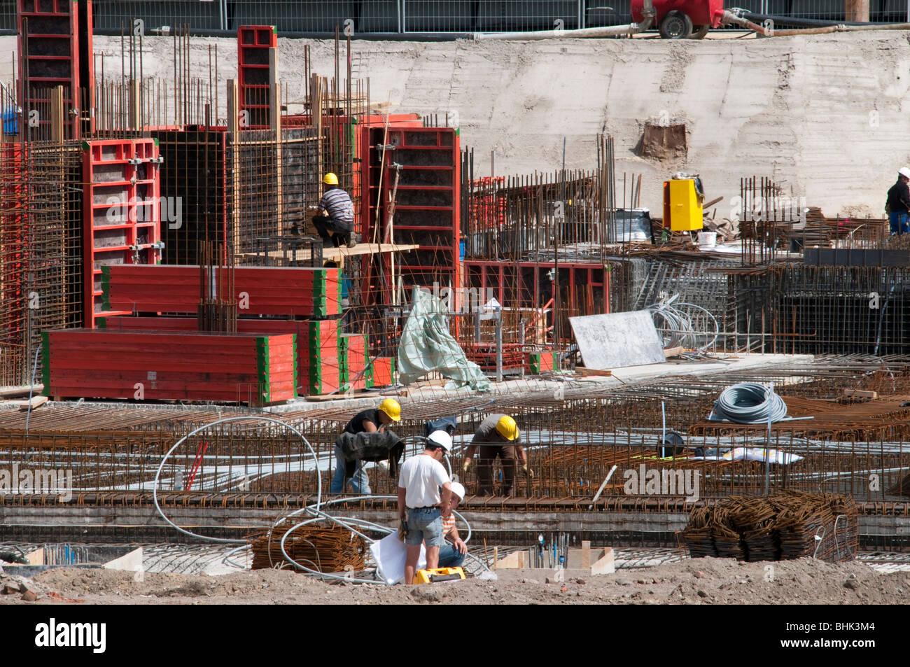 Fundamentbau, Baustelle Hafencity, Hamburg, Deutschland | construction works Harbour City, Hamburg, Germany - Stock Image