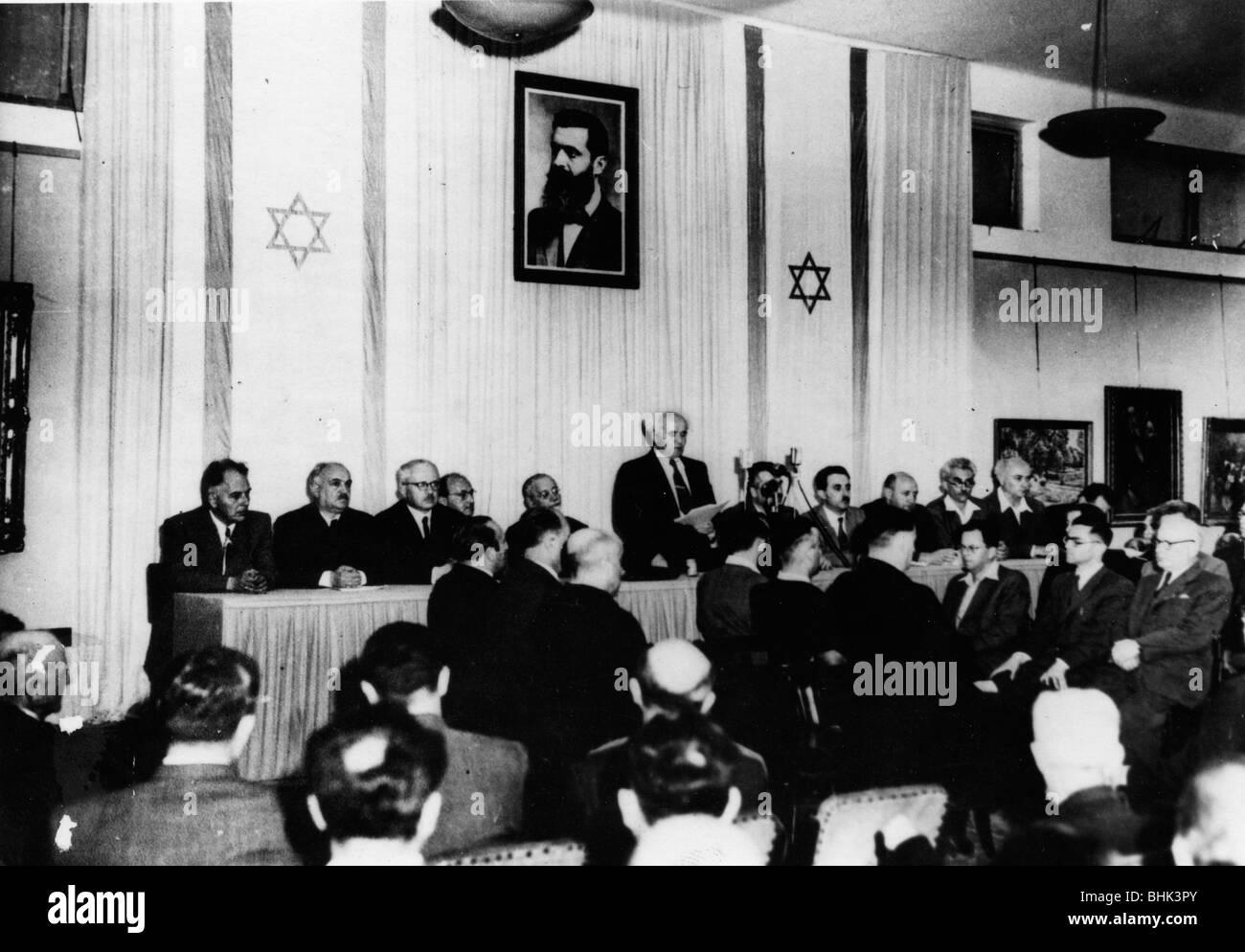 David Ben Gurion (1886-1973) proclaims the independent Jewish state, 1948. - Stock Image
